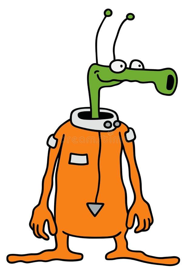Pequeño extranjero verde divertido stock de ilustración