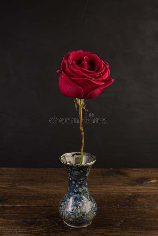 Pequeño florero de mármol con la flor color de rosa blanca en negro fotografía de archivo libre de regalías