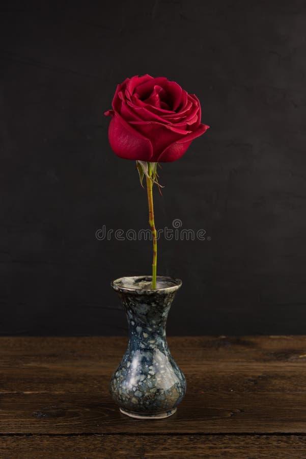 Pequeño florero de mármol con la flor color de rosa blanca en negro imagenes de archivo