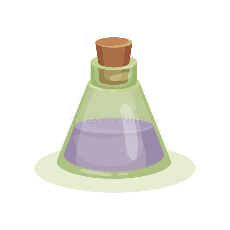 Pequeño frasco de cristal con el líquido púrpura Botella transparente con aceite curativo Tema farmacéutico Icono plano del vecto libre illustration