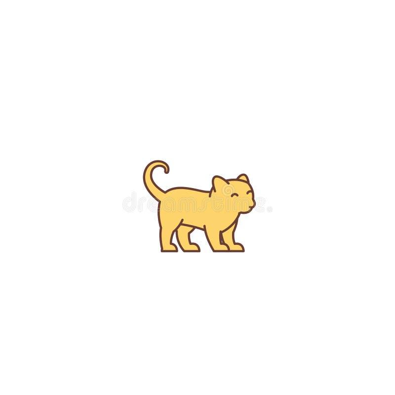 Pequeño gatito joven lindo del jengibre Logotipo o icono Tienda de animales del gato Ilustraci?n del vector stock de ilustración
