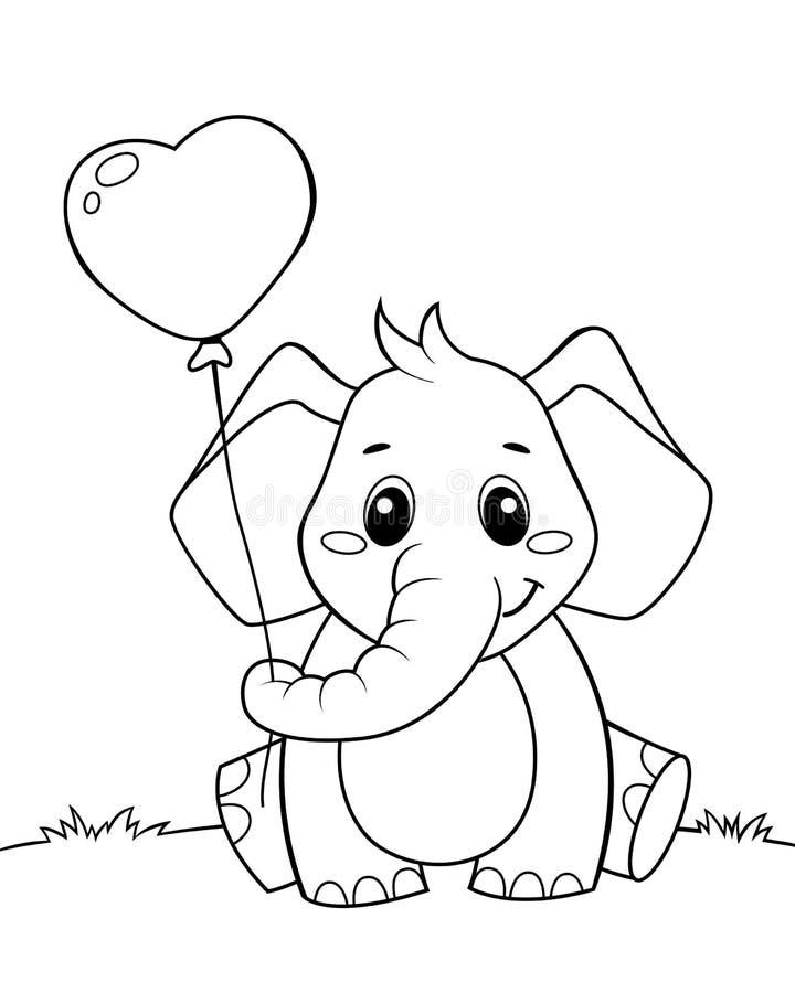 Pequeño globo lindo de la tenencia del elefante en forma del corazón Ejemplo blanco y negro para el libro de colorear ilustración del vector