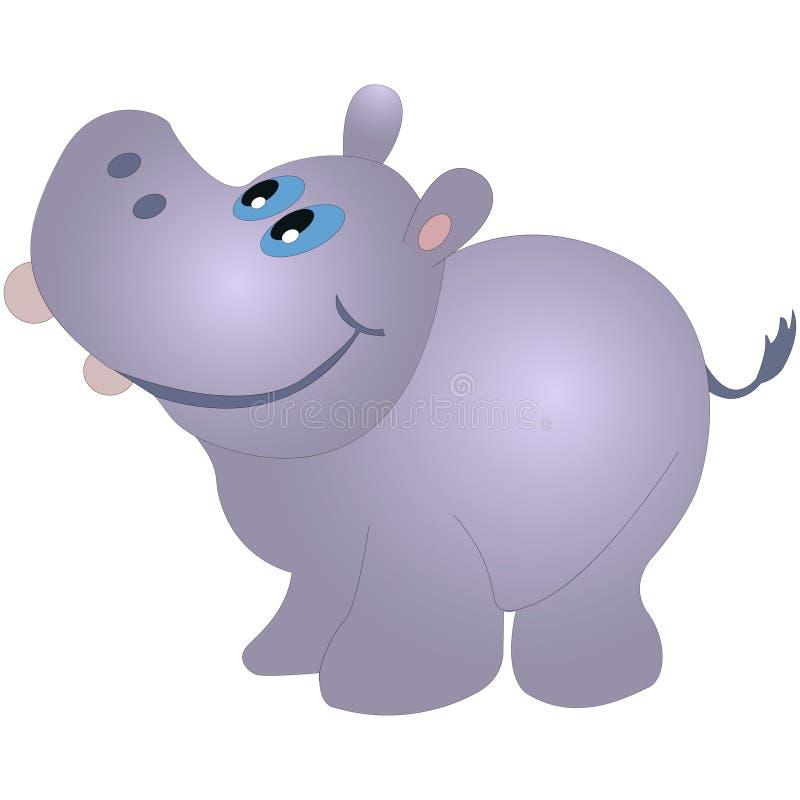 Pequeño hipopótamo divertido, ejemplo del vector de la historieta aislado en el fondo blanco stock de ilustración