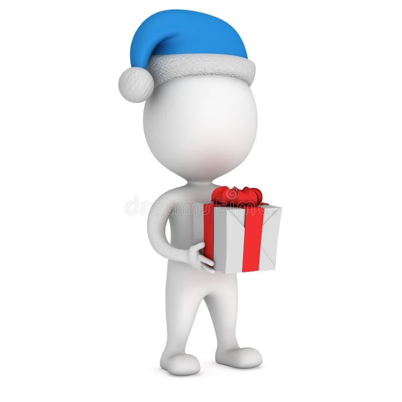 Pequeño hombre blanco en soporte del casquillo de Papá Noel con el regalo libre illustration