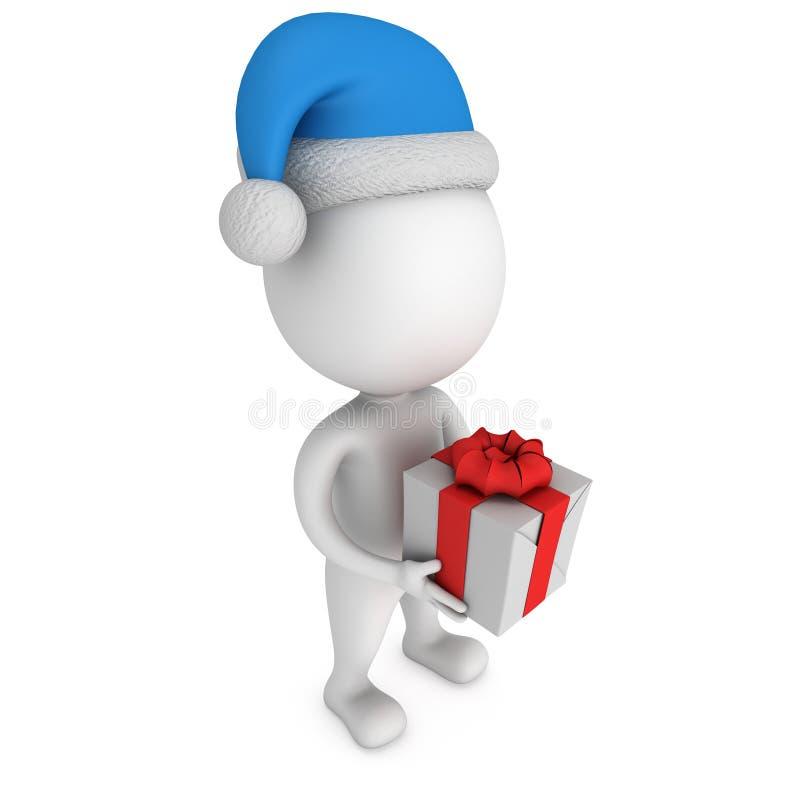 Pequeño hombre blanco en soporte del casquillo de Papá Noel con el regalo stock de ilustración