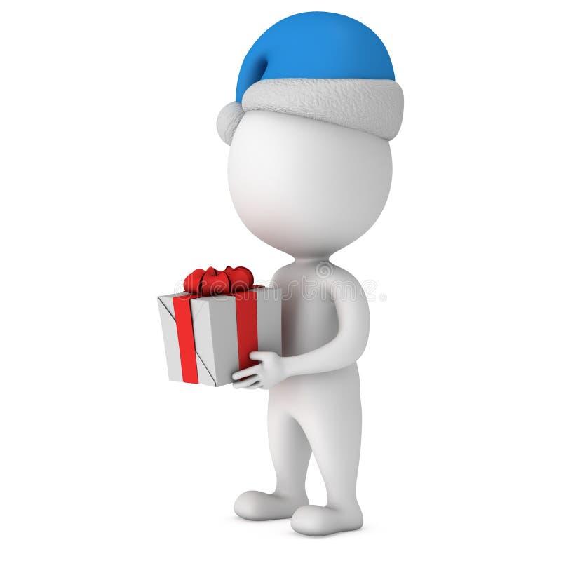 Pequeño hombre blanco en soporte del casquillo de Papá Noel con el regalo ilustración del vector