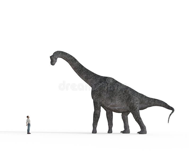 Pequeño hombre cara a cara con los dinosaurios grandes del brachiosaurus ilustración del vector