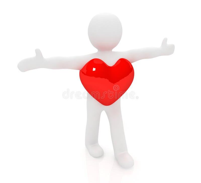 pequeño hombre 3d con un corazón ilustración del vector