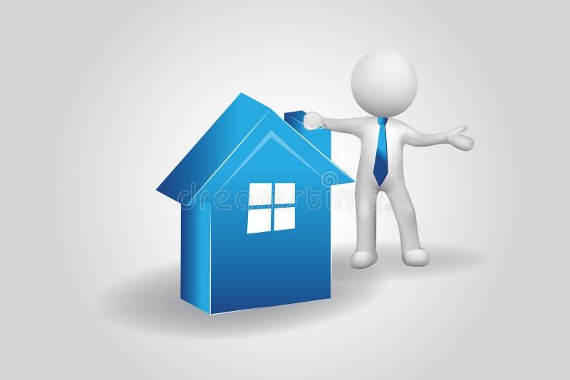 pequeño hombre de la gente 3D con un vector azul del logotipo de la casa ilustración del vector