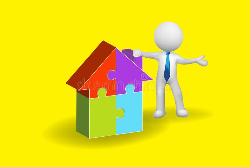 pequeño hombre de la gente 3D con un vector del logotipo de la casa del rompecabezas stock de ilustración