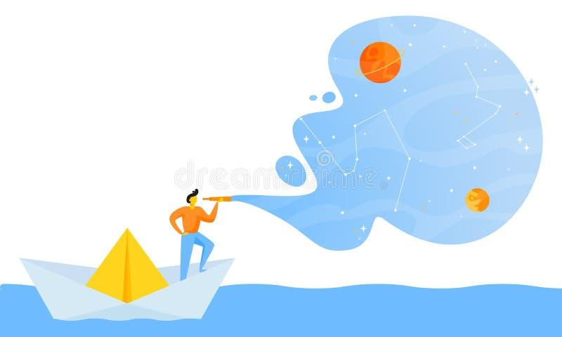 Pequeño hombre en el barco de papel libre illustration