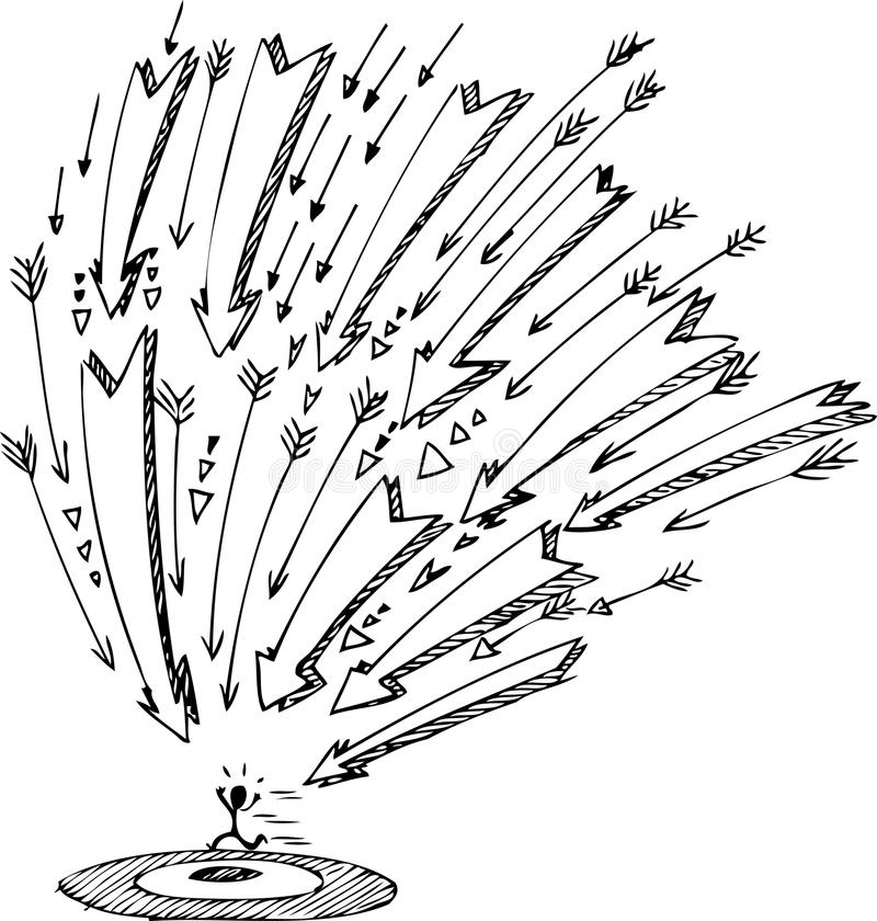 Pequeño hombre que se escapa de flechas stock de ilustración
