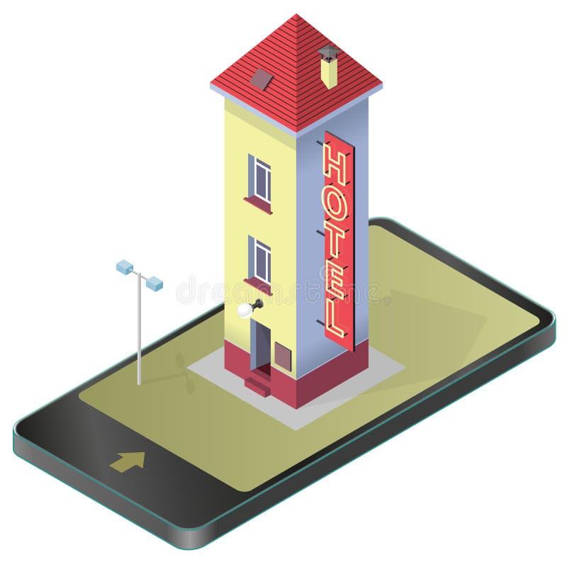 Pequeño hotel divertido Parador cómico alto Edificio isométrico del parador motel stock de ilustración