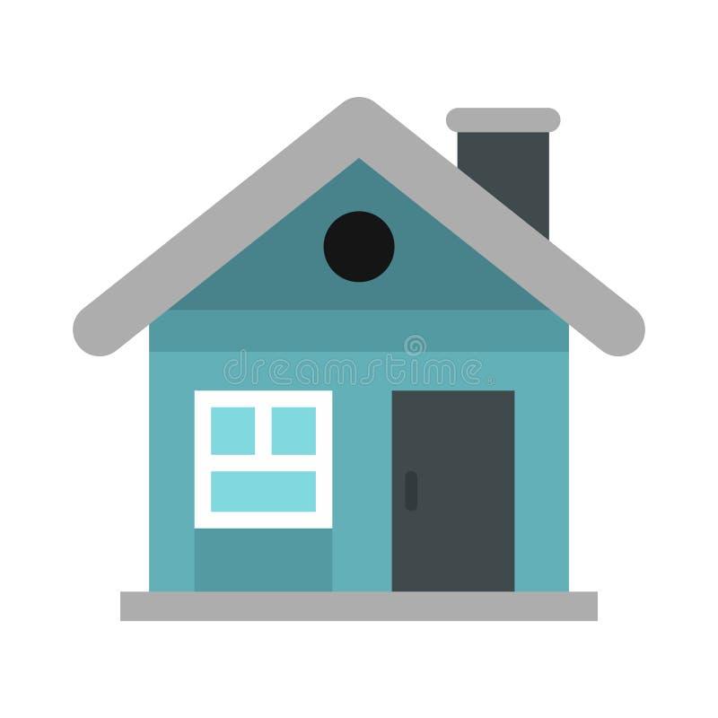 Pequeño icono azul de la cabaña, estilo plano ilustración del vector