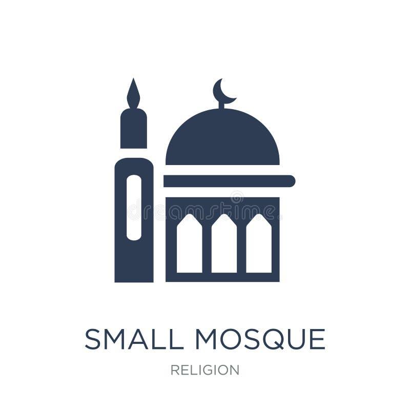 Pequeño icono de la mezquita Pequeño icono de la mezquita del vector plano de moda en blanco libre illustration