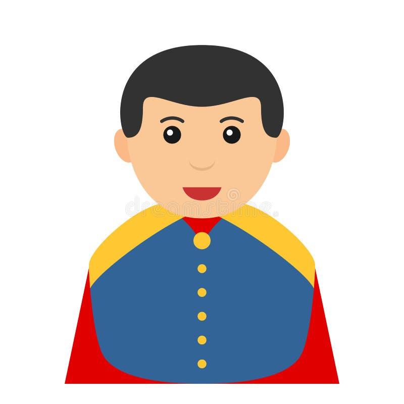Pequeño icono de príncipe Charming Avatar Flat ilustración del vector