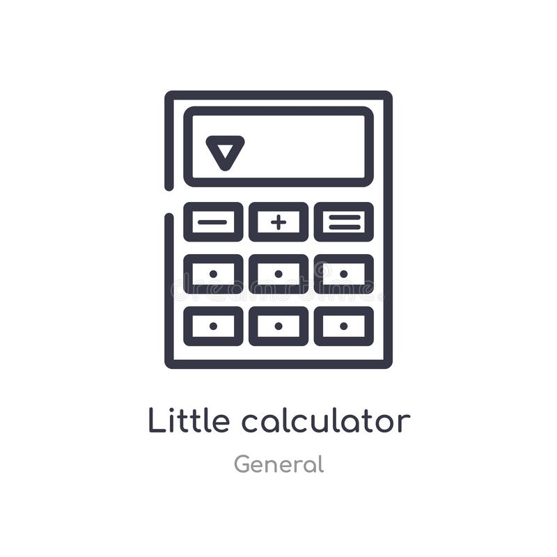 pequeño icono del esquema de la calculadora l?nea aislada ejemplo del vector de la colecci?n general pequeña calculadora del movi stock de ilustración