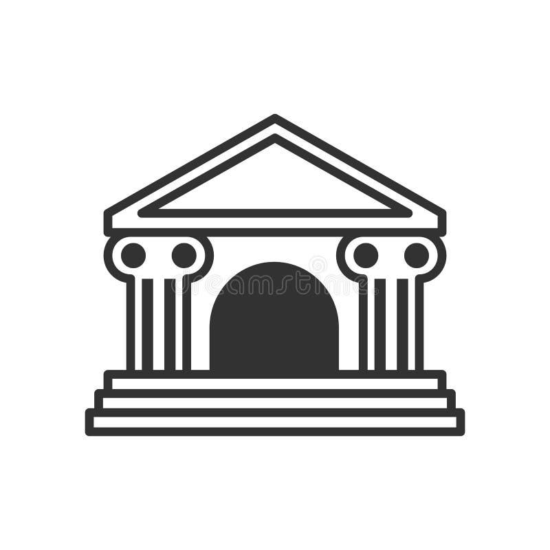 Pequeño icono del esquema del edificio de banco en blanco stock de ilustración