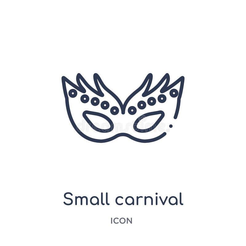 Pequeño icono linear de la máscara del carnaval de la colección del esquema del cine Línea fina pequeño vector de la máscara del  ilustración del vector