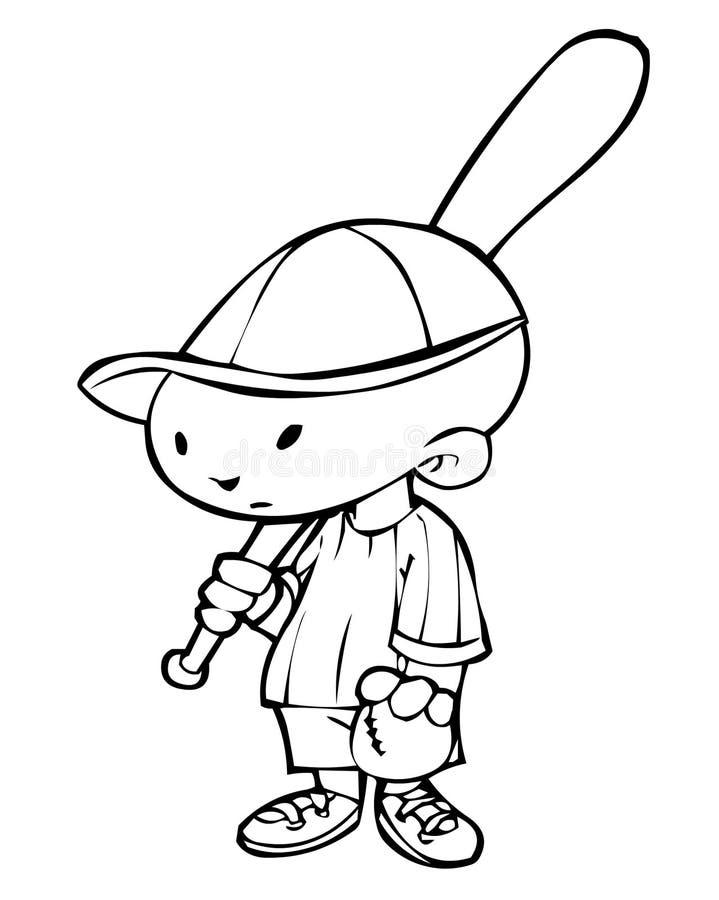 Pequeño jugador de béisbol stock de ilustración