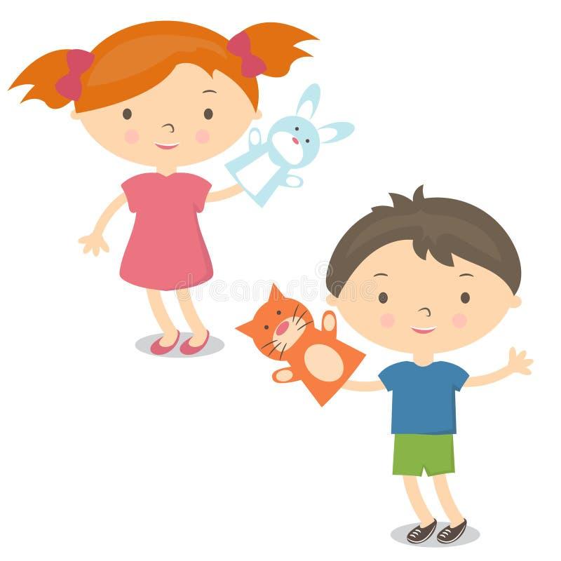 Pequeño juguete de la marioneta de mano de los niños del ejemplo Vector ilustración del vector