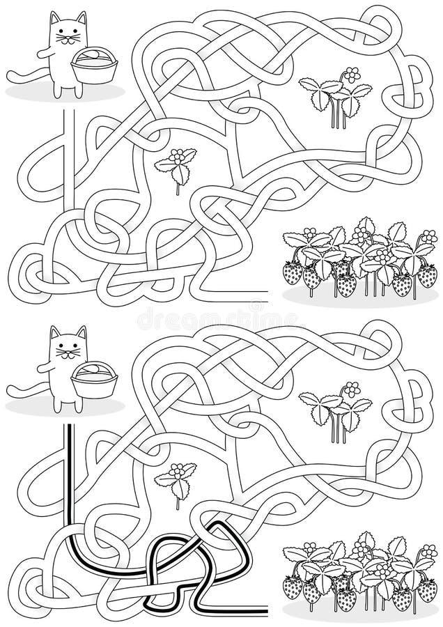 Pequeño laberinto del gato ilustración del vector