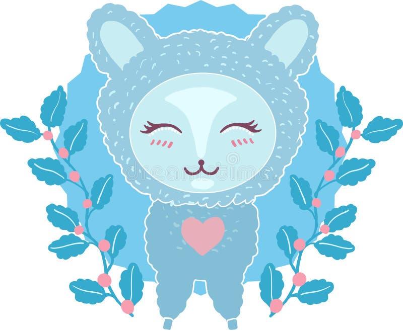Pequeño lama lindo, carácter de la alpaca con el ejemplo del vector del garabato de la historieta de las flores aislado en el fon libre illustration