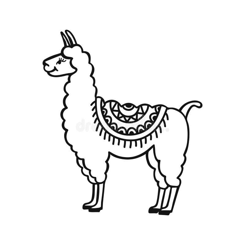 Pequeño lama lindo dibujado mano Ejemplo del vector de la historieta del garabato libre illustration