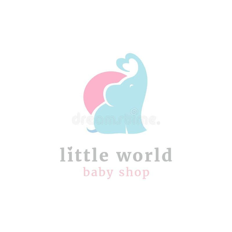 Pequeño logotipo lindo del elefante Los niños juegan la tienda y las mercancías del bebé almacenan la mascota stock de ilustración