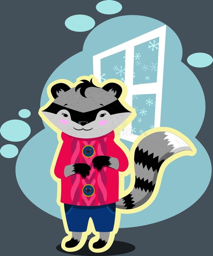 Pequeño mapache en un suéter rosado imágenes de archivo libres de regalías