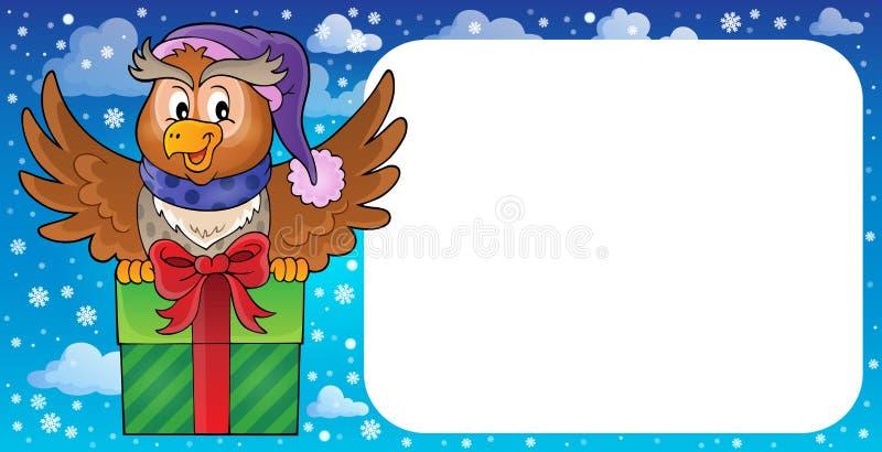 Pequeño marco con el búho y el regalo stock de ilustración
