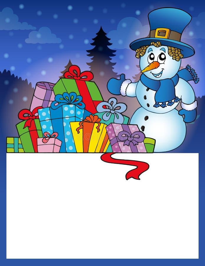 Pequeño marco con el muñeco de nieve 1 stock de ilustración