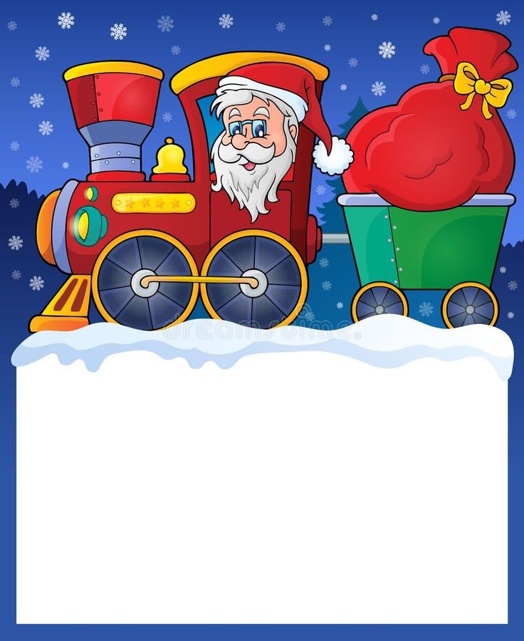 Pequeño marco con el tren de la Navidad ilustración del vector