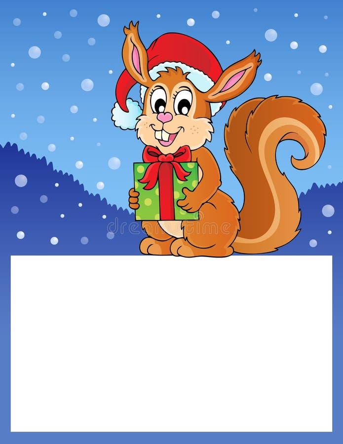 Pequeño marco con la ardilla de la Navidad libre illustration