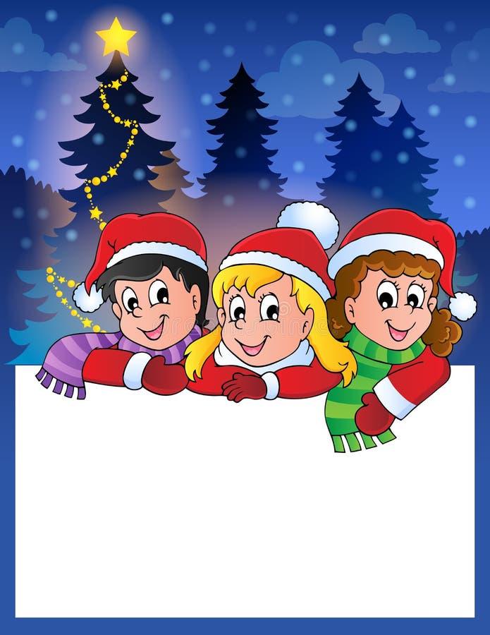 Pequeño marco con los niños de la Navidad stock de ilustración