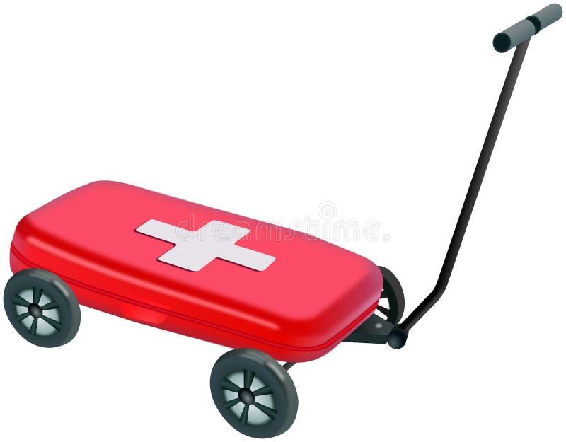Pequeño Medibox plástico rojo en carretilla de mano de cuatro ruedas stock de ilustración