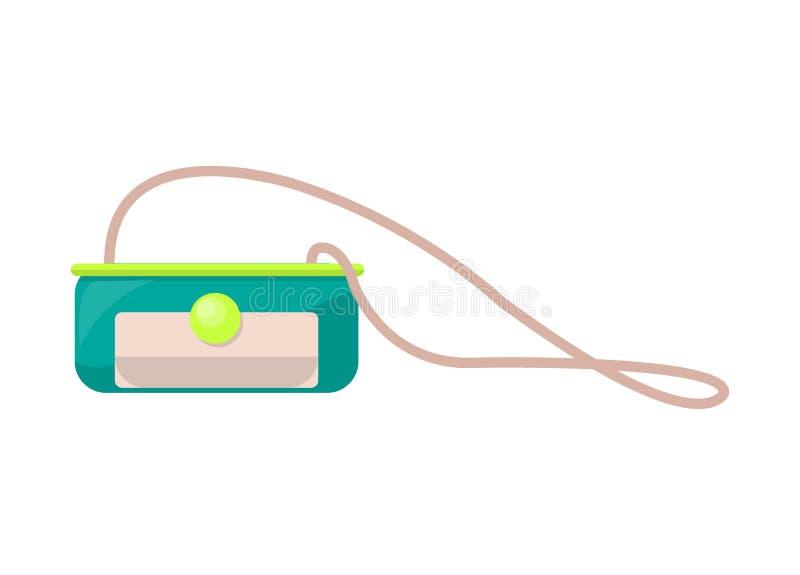 Pequeño monedero brillante en correa larga con el corchete redondo stock de ilustración