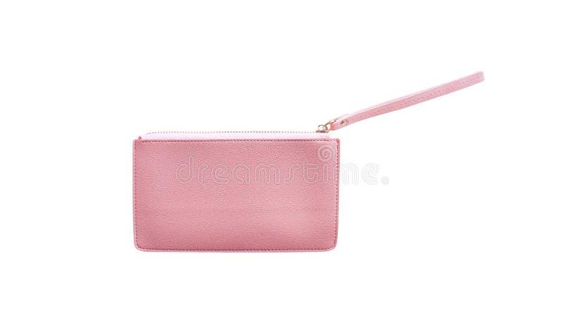 Pequeño monedero de cuero rosado colorido de las mujeres aislado en el fondo blanco con la trayectoria de recortes fotografía de archivo libre de regalías