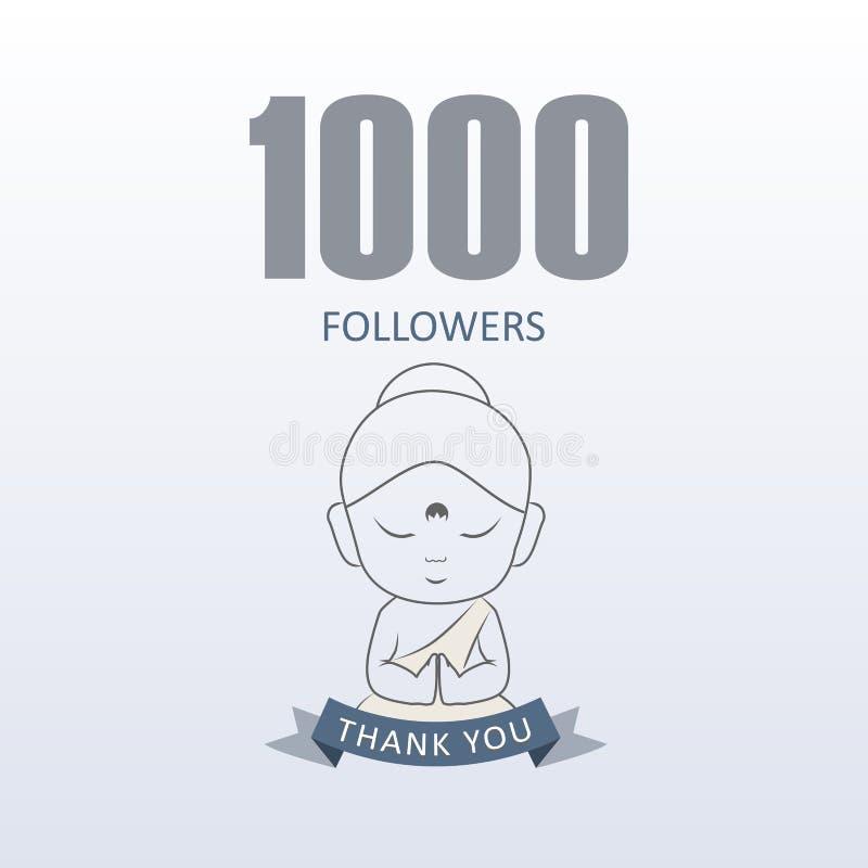 Peque?o monje que muestra la gratitud para 1000 seguidores en medios sociales stock de ilustración