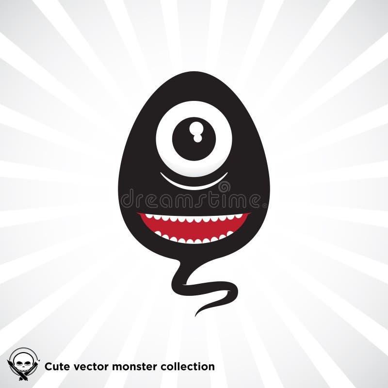 Pequeño Monstruo Negro Lindo Del Vector Ilustración del Vector ...