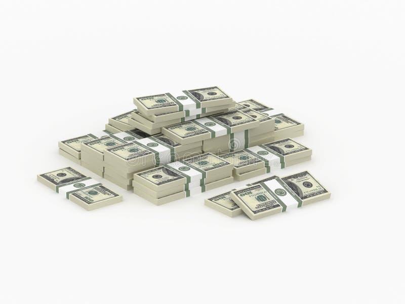 Pequeño montón de los paquetes del dinero stock de ilustración