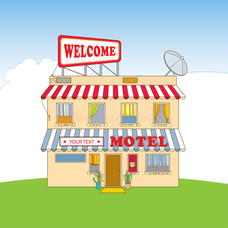 Pequeño motel beige de dos pisos con la recepción de la palabra en el letrero Elementos arquitectónicos en estilo del contorno stock de ilustración