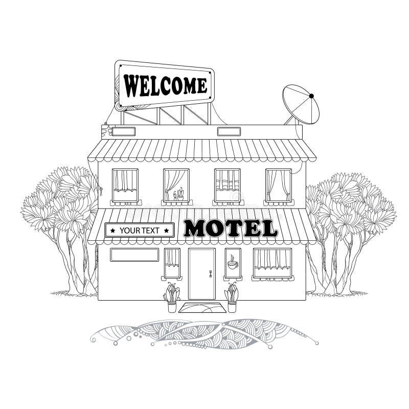 Pequeño motel de dos pisos con los árboles en la parte posterior aislada en el fondo blanco Elementos arquitectónicos en estilo d libre illustration