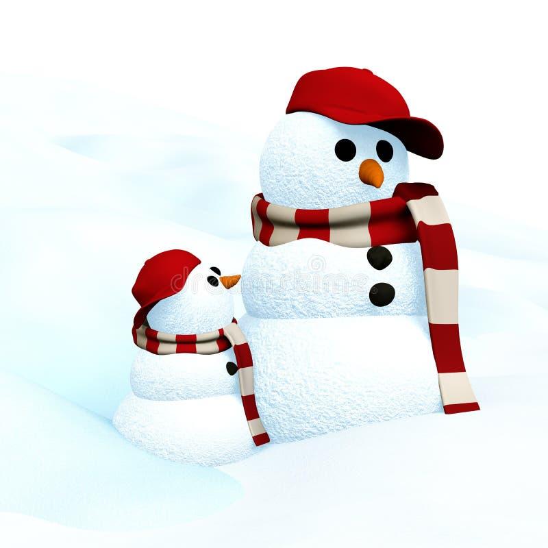 Pequeño muñeco de nieve ilustración del vector