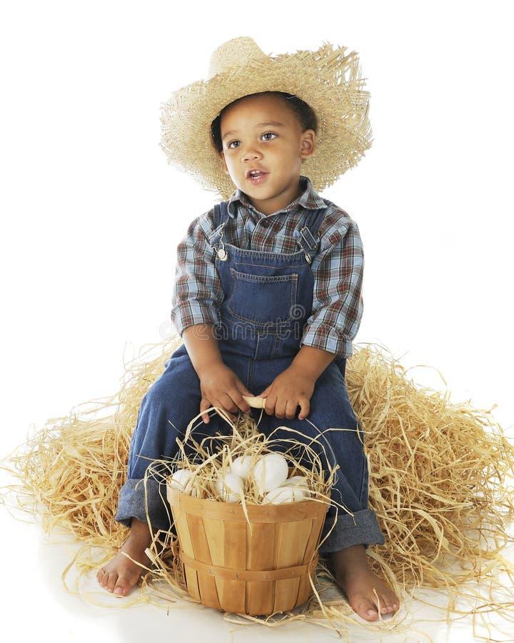 Pequeño muchacho de granja cansado fotografía de archivo