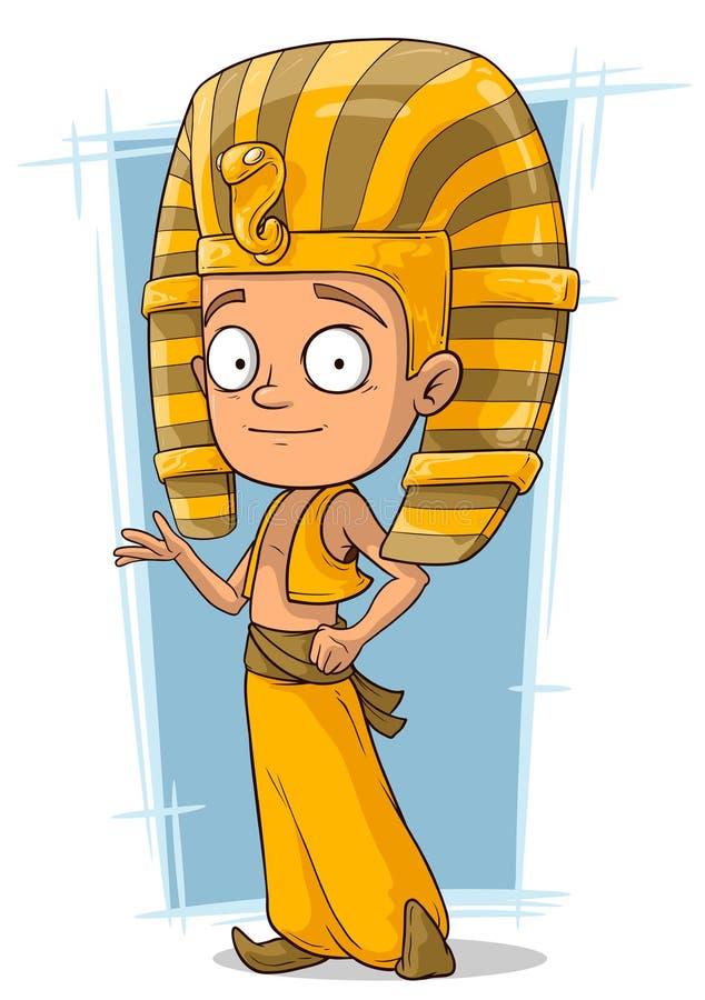 Pequeño muchacho del faraón de la historieta de Egipto ilustración del vector