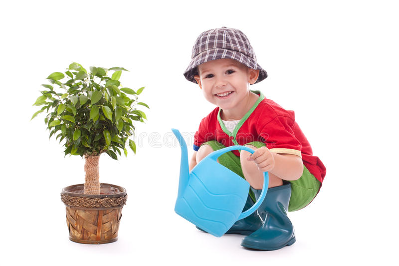 Pequeño muchacho del jardinero fotografía de archivo