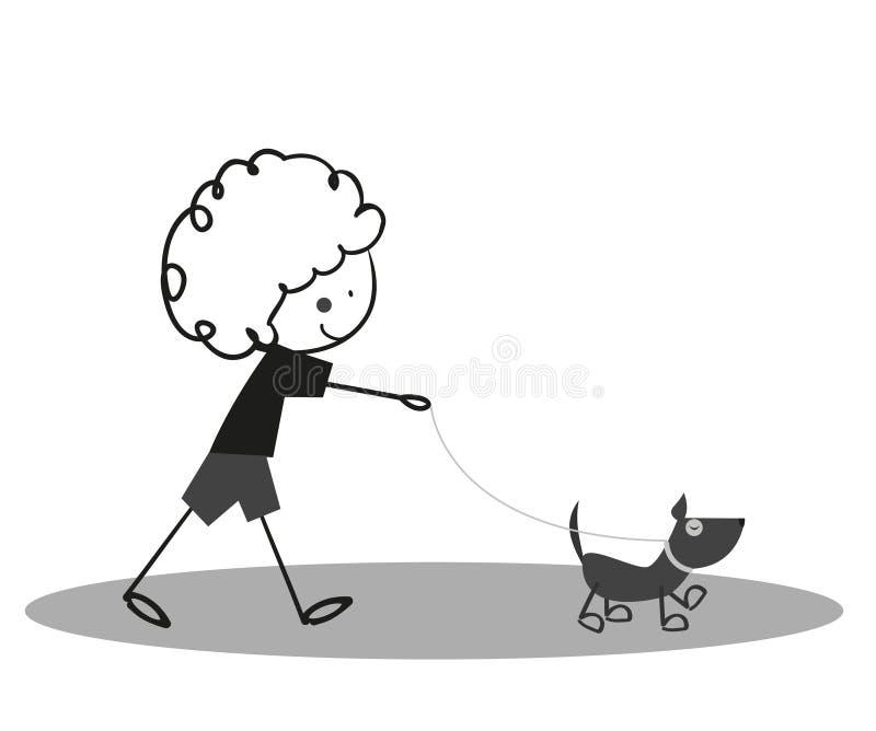Pequeño muchacho lindo del garabato que camina con el perro stock de ilustración