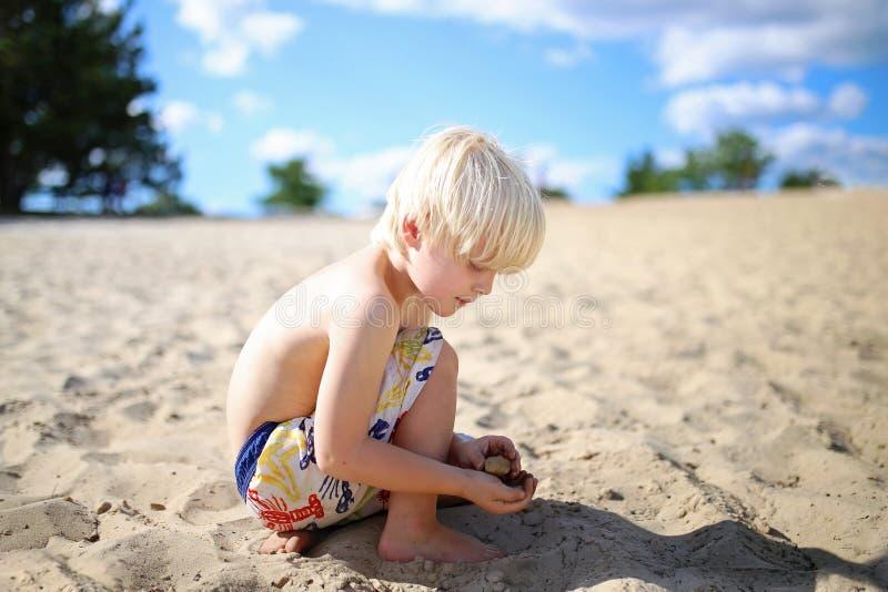 Pequeño muchacho rubio que recoge rocas y cáscaras en la playa el verano fotos de archivo