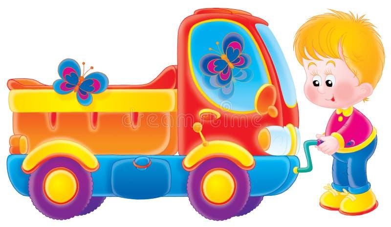 Pequeño muchacho y su carro stock de ilustración